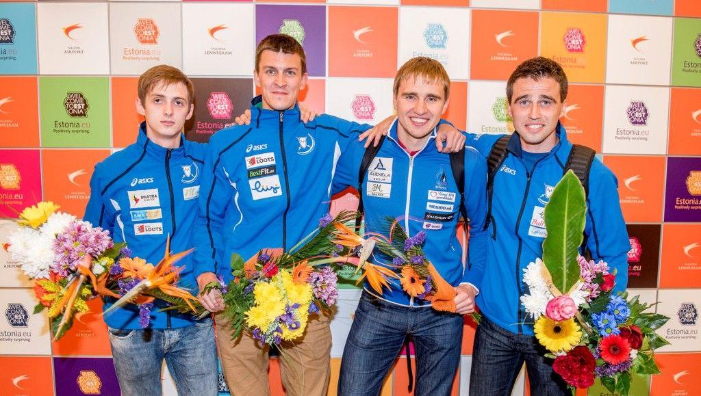 Eesti epeemeeskond koosseisus (vasakult) Peeter Turnau, Sten Priinits, Nikolai Novosjolov, Marno Allika. Foto: Martin Dremljuga/ERR