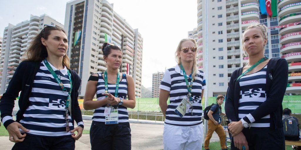 Irina Embrich (vasakult), Julia Beljajeva, varuvõistleja Kristina Kuusk ja Erika Kirpu Rio olümpial. Foto: Tairo Lutter/Postimees